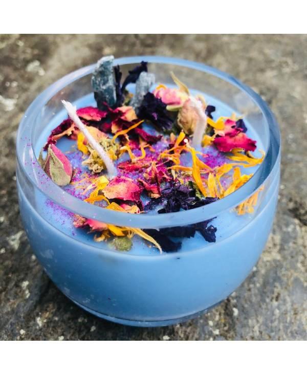 Svíčka pro harmonii a klid - modrá s kyanitem